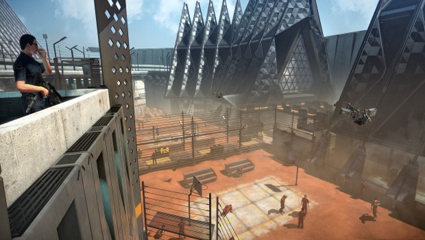 Deus Ex: Mankind Divided screenshot of a prison courtyard from A Criminal Past DLC