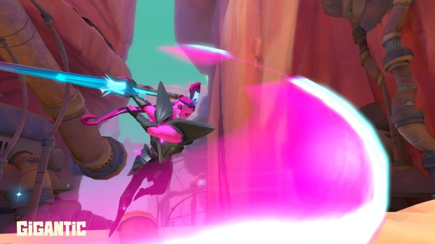 Zandora from Gigantic using her energy slice attack