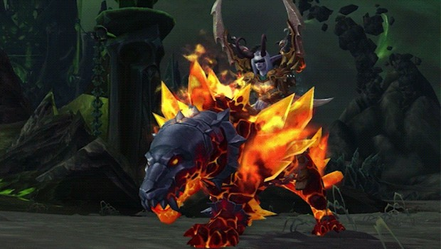 World of Warcraft and Heroes of the Storm promotion mount Primal Flamesaber