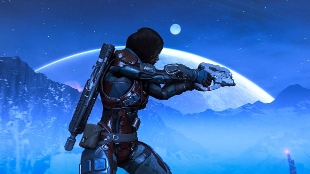 Mass Effect: Andromeda screenshot showing the pathfinder next to a large moon