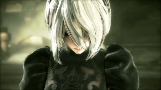 NieR: Automata screenshot of the main character's face