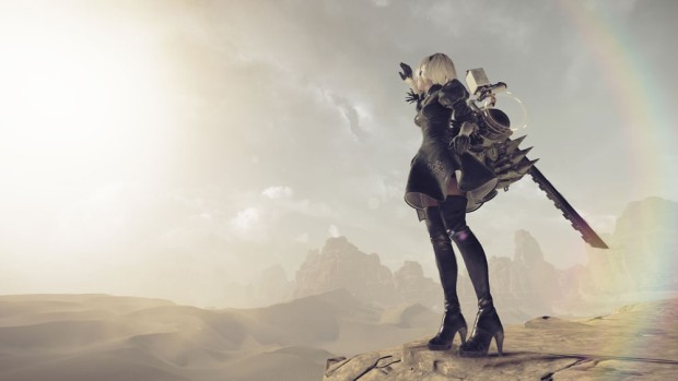 NieR: Automata screenshot featuring our main character standing in sunlight