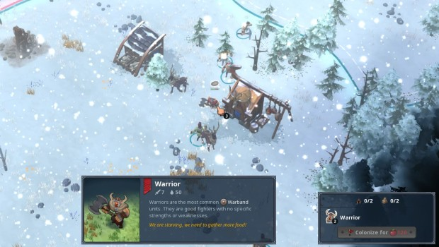 Northgard screenshot showing a bunch of starving vikings attacking each other