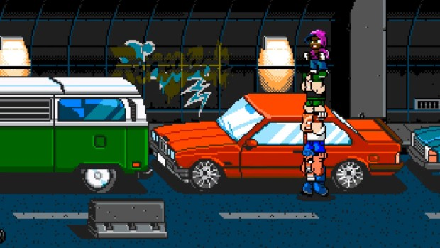 River City Ransom: Underground four characters making a totempole