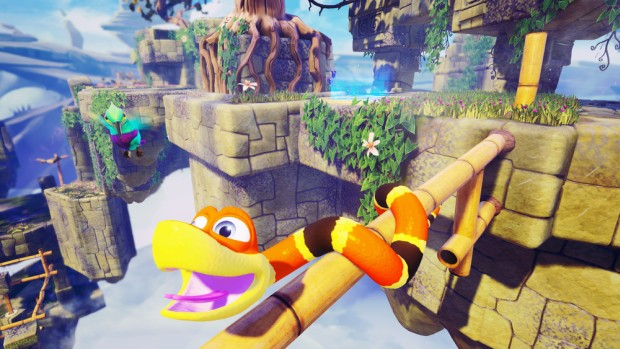 Snake Pass screenshot of our hero dangling off a cliff