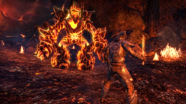 The Elder Scrolls Online: Morrowind screenshot of a fight against a lava elemental