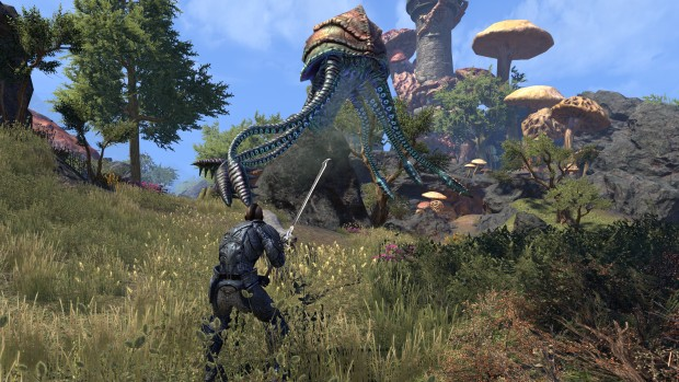 The Elder Scrolls Online: Morrowind screenshot of a battle against a Netch enemy