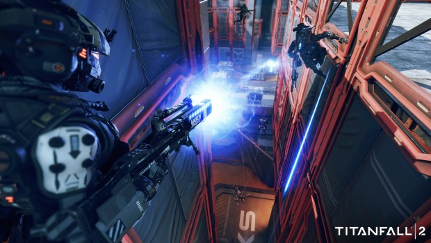 Titanfall 2 screenshot of close quarters combat from the new Live Fire game mode
