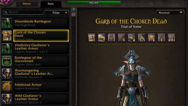 World of Warcraft transmogrification sets tab