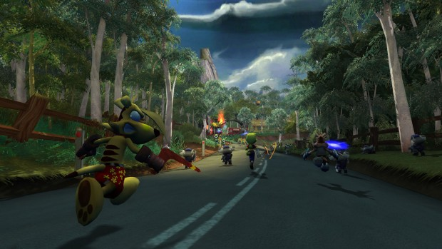 TY the Tasmanian Tiger 2 screenshot of various characters running down the road