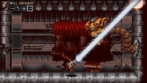 Blazing Chrome screenshot showing a boss fight