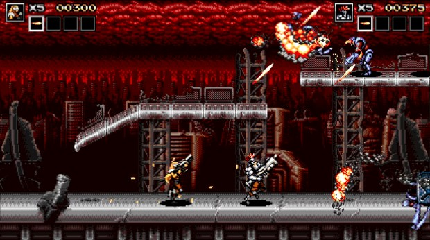 Blazing Chrome screenshot of co-op action