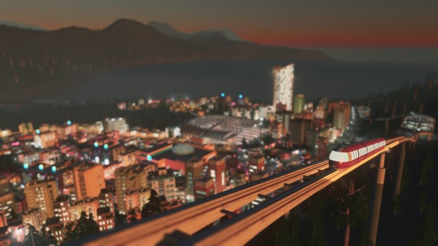 The monorail from Cities: Skylines Mass Transit DLC