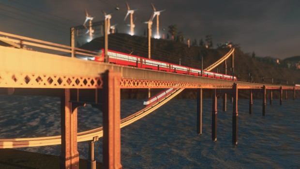 Cities: Skylines Mass Transit DLC screenshot showing off two monorails on a bridge