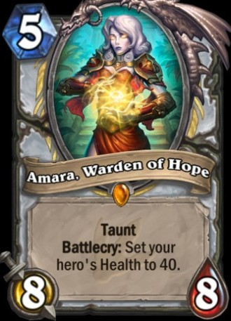 Hearthstone's Amara Warden of Home card from Journey to Un'Goro