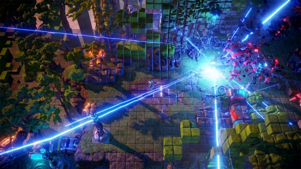 Nex Machina screenshot of a blue explosion