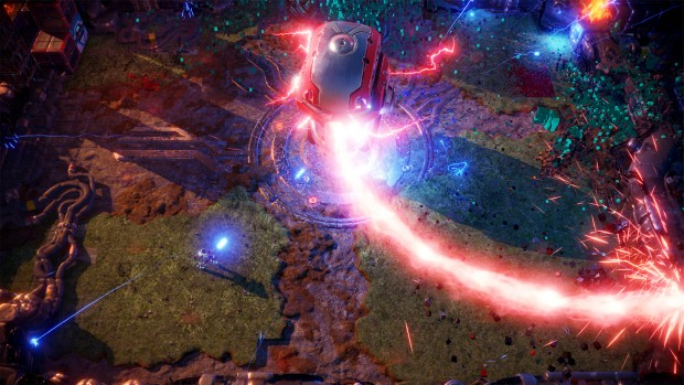 Nex Machina gameplay screenshot showing a giant laser