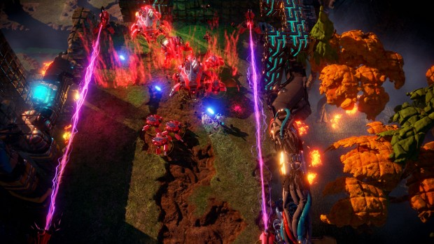 Nex Machina screenshot of a battle within a laser trap