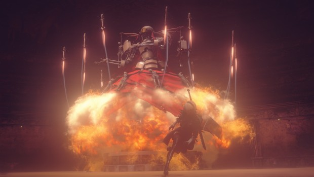 NieR: Automata screenshot of a boss with plenty of rockets
