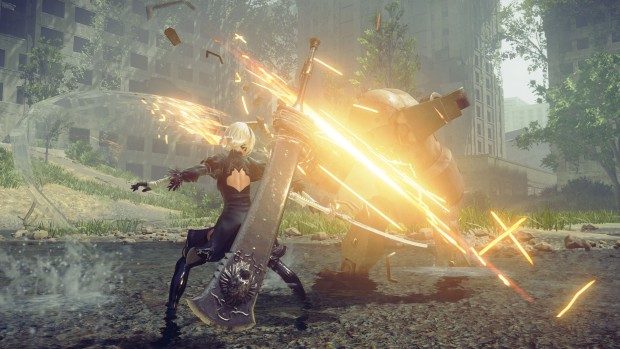 NieR: Automata screenshot of a two handed sword in combat