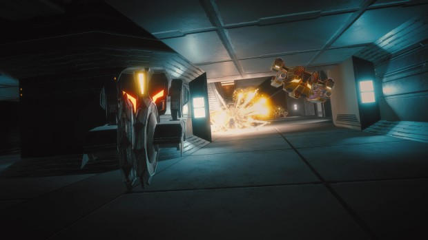 Overload screenshot showing a duel in tight corridors