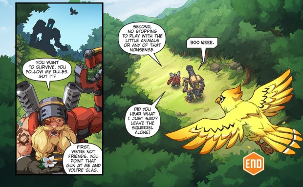 Torbjorn and Bastion talking in the Overwatch Binary comic