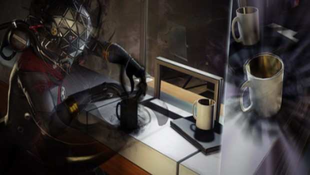 Prey screenshot showing the character morphing into a coffee cup