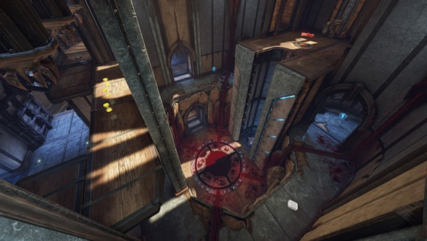 Quake Champions' Blood Covenant arena screenshot showing the big pit