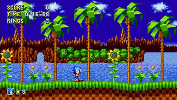 Sonic Mania screenshot of the reworked Green Hills zone