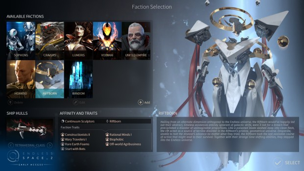 Endless Space 2 faction selection screen featuring The Riftborn