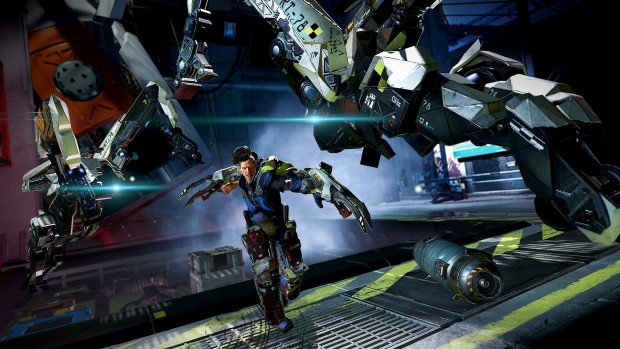 The Surge screenshot of a fight with a giant robot