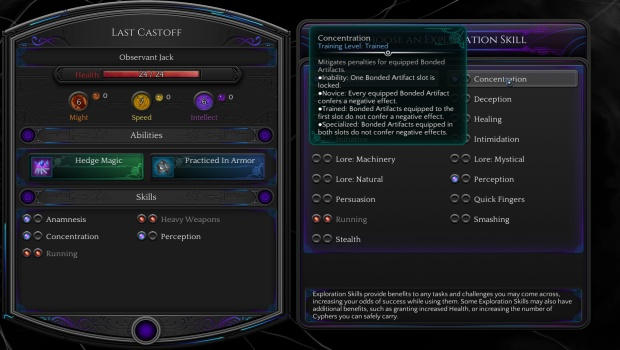 Torment: Tides of Numenera character creation screenshot