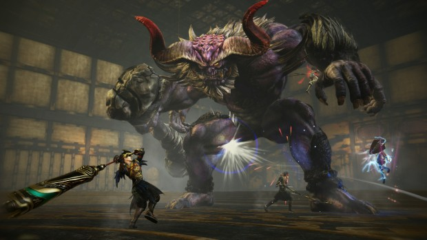 Toukiden 2 screenshot of a group fighting a giant demon