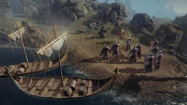 Vikings: Wolves of Midgard screenshot of a boat and a bunch of knights