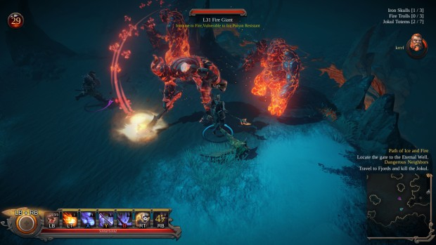 Vikings: Wolves of Midgard screenshot of a fight with fire giants