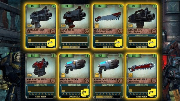 Warhammer 40,000 Space Wolf screenshot of many weapon cards
