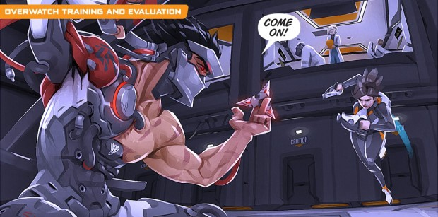 Genji vs Tracer screenshot from the Uprising comic in Overwatch