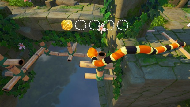 Snake Pass screenshot of a difficult level 1 puzzle