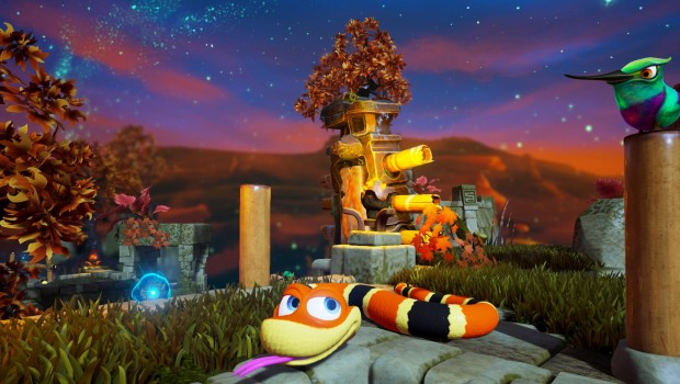 Snake Pass screenshot of the third fire world