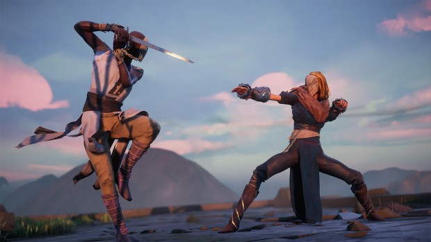 Absolver screenshot of a hillside duel