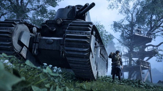 Battlefield 1 screenshot of a tank and a soldier next to it from the May Update