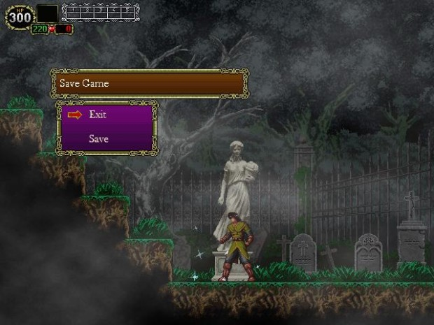 Castlevania: The Lecarde Chronicles screenshot of a graveyard and save point