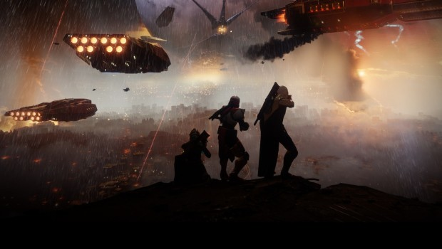 Destiny 2 screenshot of three characters shrouded in darkness