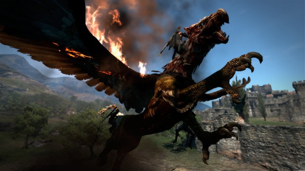Dragon's Dogma screenshot of the player climbing on a gryphon