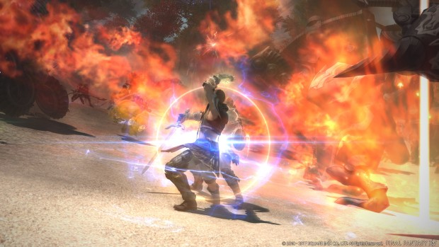 Final Fantasy 14 screenshot of a duel in Stormblood