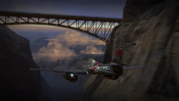 Iron Wings screenshot of a canyon bridge