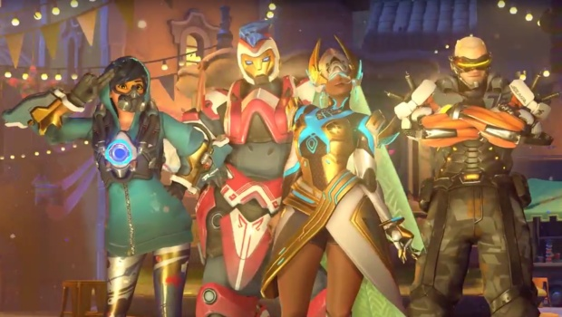 Overwatch Anniversary Update legendary skins for Tracer, Soldier 76, Zarya, and Symmetra