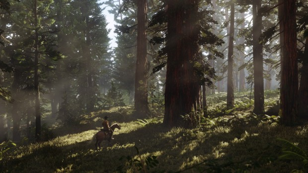 Red Dead Redemption 2 screenshot of a journey through the forest