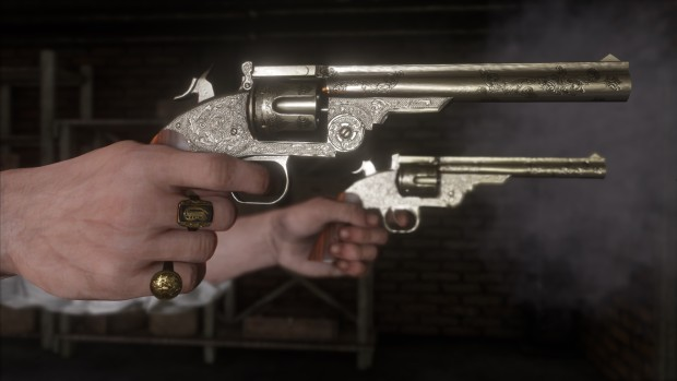 Red Dead Redemption 2 screenshot of revolvers up-close