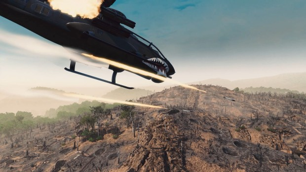 Rising Storm 2: Vietnam screenshot of a helicopter shooting rockets